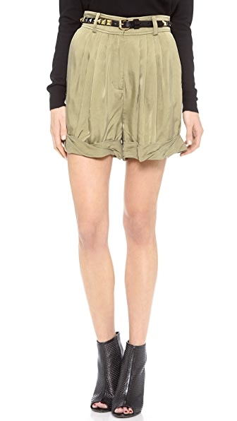 Rachel Zoe Cheyenne Pleated Rolled Shorts