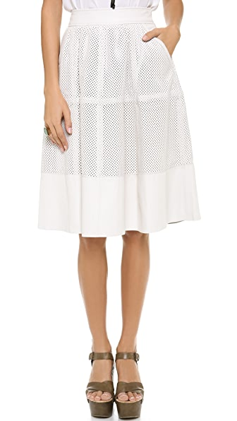 Rachel Zoe Bradford Perforated Leather Skirt