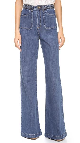 Rachel Zoe Ella Braided Wide Leg Jeans - Medium Indigo