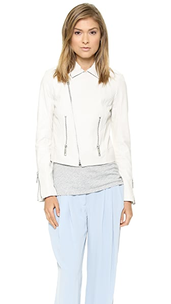 Rachel Zoe Shay Zip Leather Biker Jacket