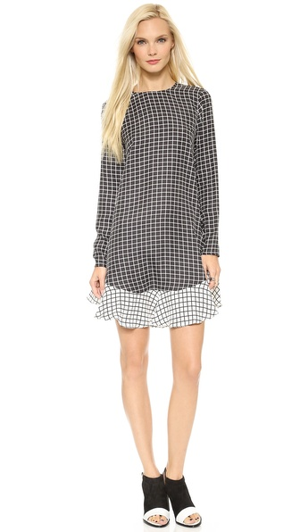 Rachel Zoe Long Sleeve Flounced A Line Dress - Black/Winter White