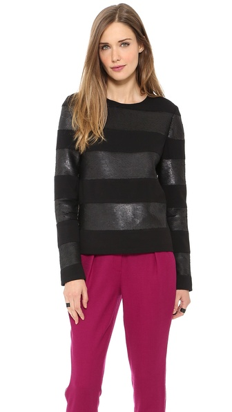 Rachel Zoe Veronique Stripe Sequin Boxy Top