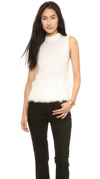 Rachel Zoe Rosalie Fur Banded Tank Sweater - Winter White/Winter White