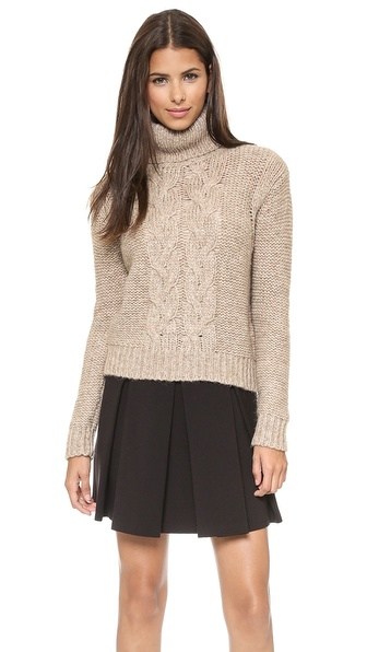 Rachel Zoe Nicola Fuinnel Neck Cable Sweater - Camel