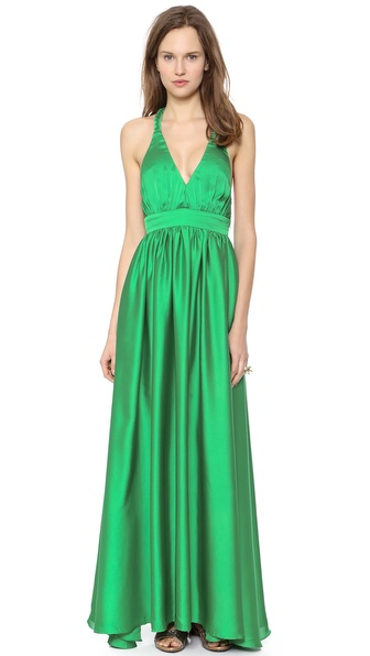 Shop Rae Francis online and buy Rae Francis Fallon Dress Emerald - Exclusive to Shopbop. Dense ruching adds volume and movement to a sweeping Rae Francis dress, cut from lustrous satin. Braided straps link over the open back, and a wide band defines the figure. Hidden side zip. Lined. Fabric: Satin. Shell: 100% polyester. Dry clean. Made in the USA. Measurements Length: 62.25in / 158cm, from shoulder Measurements from size 4. Available sizes: 0,2,4,8
