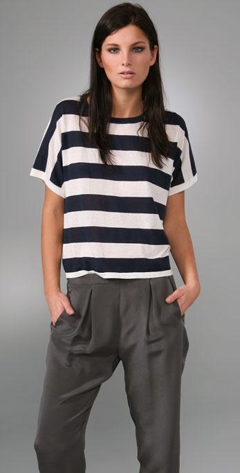 Rag & Bone Short Sleeve Wide Stripe Top