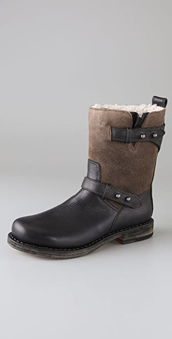 Rag & Bone Moto Boots with Shearling Lining
