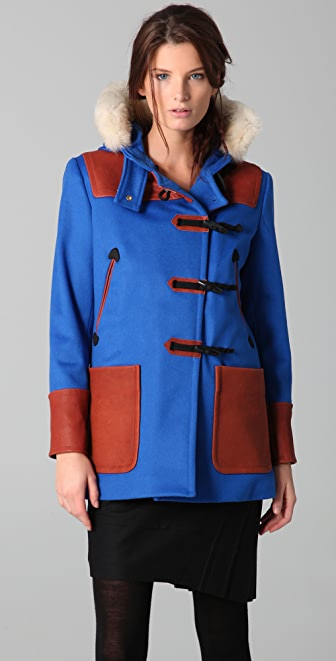 Rag & Bone Duffle Coat with Leather Trim