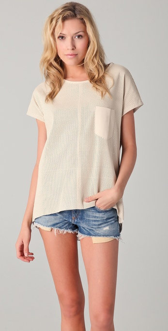 Rag & Bone Bailey Perforated Leather Top