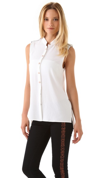 Rag & Bone Platoon Blouse with Leather Epaulets