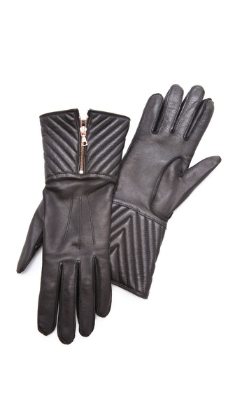 Rag & Bone Chevron Quilted Zip Gloves