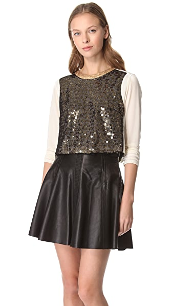 Rag & Bone Zip Sequin Crop Top