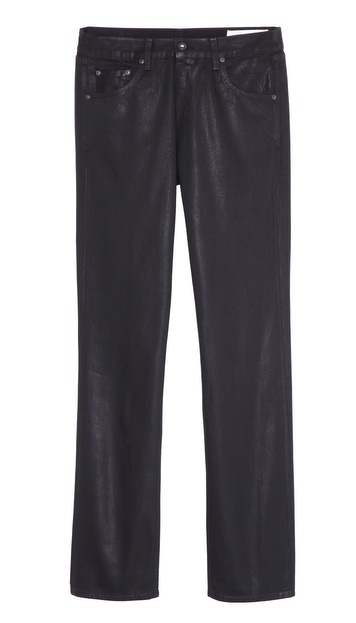 Rag & Bone RB15X Black Coated Slim Straight Jeans