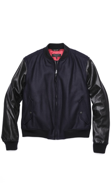 Rag & Bone Bastion Wool/Leather Sleeve Varsity Jacket