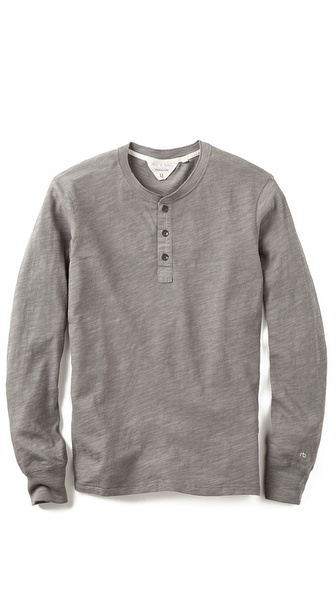 Rag & Bone 3 Button Flame Henley