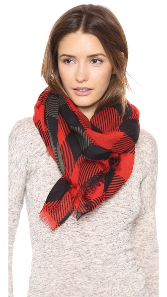 Rag & Bone Buffalo Check Scarf - Dusty Olive