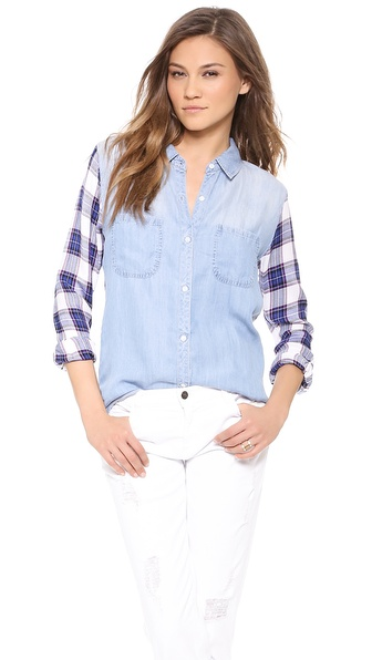 Rails Harper Denim Button Down - Denim/White/Purple at Shopbop / East Dane