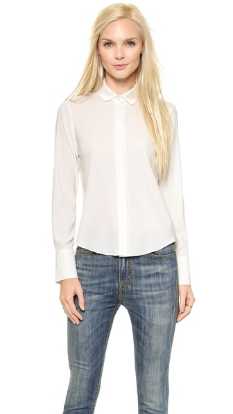 Ramy Brook Pleated Back Button Down - Ivory