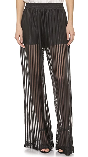 Ramy Brook Sheer Stripe Palazzo Pants - Black