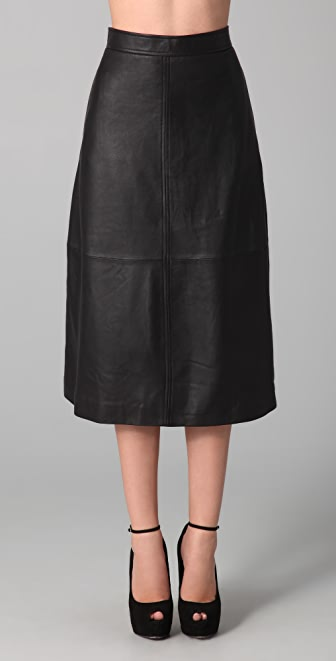 Raoul Leather Midi Skirt