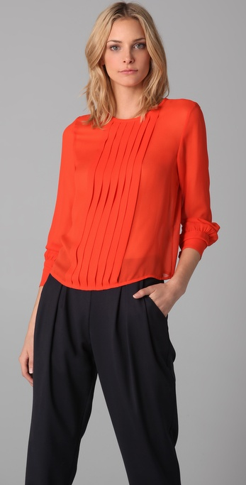 Raoul Pleated Long Sleeve Blouse