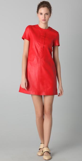 Raoul Mock Neck Leather Dress
