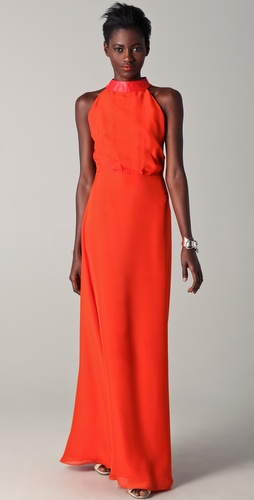 Raoul Sleeveless Gown with Leather Detail