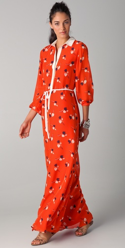 Raoul Maxi Tulip Print Shirt Dress