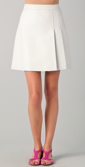 Raoul Side Pleated Leather Skirt