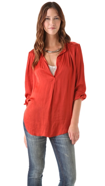 Raquel Allegra Liquid Satin Blouse with Long Sleeves