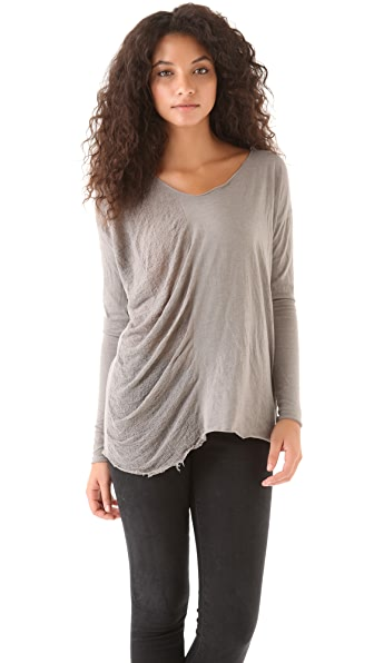 Raquel Allegra Side Shred V Neck Top