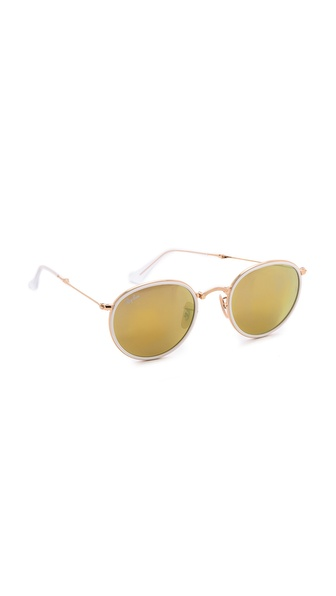 Ray-Ban Mirrored Round Foldable Icon Sunglasses