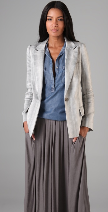 Richard Chai Love Single Button Striped Blazer