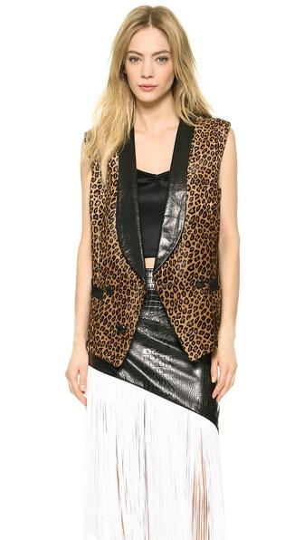 Rodarte Leopard Print Haircalf Vest