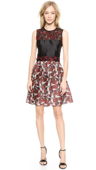 Shop Rodarte online and buy Rodarte Butterfly Lace & Printed Dress Red/Grey online