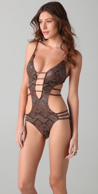 Red Carter Glam Snake Charmer One Piece