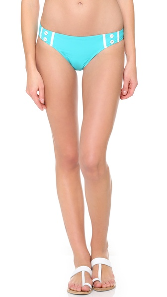 Shop Red Carter online and buy Red Carter I Dream Of Ginie Bikini Bottoms Aqua - Contrast piping and buttons bring retro charm to Red Carter bikini bottoms. Lined. Shell: 73% nylon/27% spandex. Lining: 86% nylon/14% spandex. Hand wash. Imported, China. Available sizes: XS