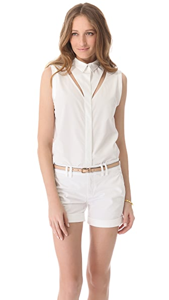 RDM by Rue du Mail Poplin Cutout Blouse