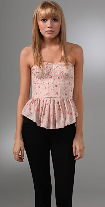 Rebecca Taylor Quilted Silk Corset Top
