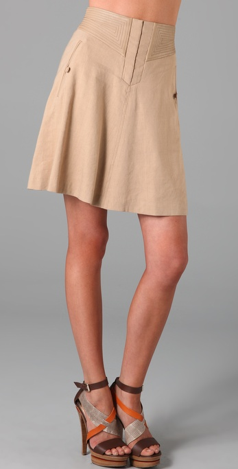 Rebecca Taylor A Line Skirt with Leather Trim