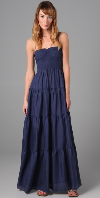 Rebecca Taylor Smocked Long Dress