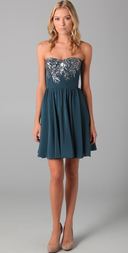Rebecca Taylor Beaded Strapless Dress