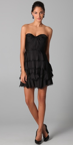 Rebecca Taylor Eyelash Strapless Bustier Dress