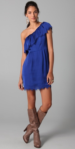 Rebecca Taylor Eyelash One Shoulder Dress