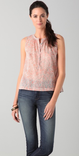 Rebecca Taylor Brambles Print Sleeveless Top