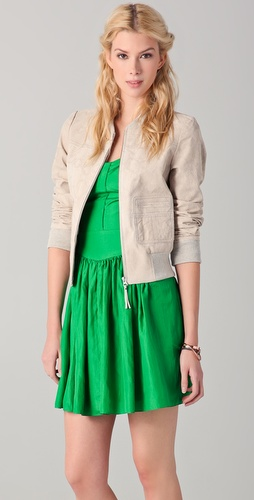 Rebecca Taylor Python Suede Bomber Jacket