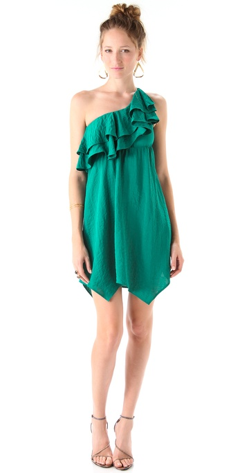 Rebecca Taylor Ruffle One Shoulder Dress