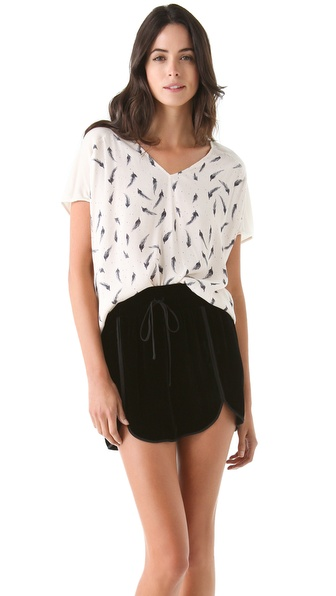 Rebecca Taylor Feather Print Combo Tee