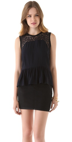 Rebecca Taylor Ruffle Hem Top at Shopbop.com