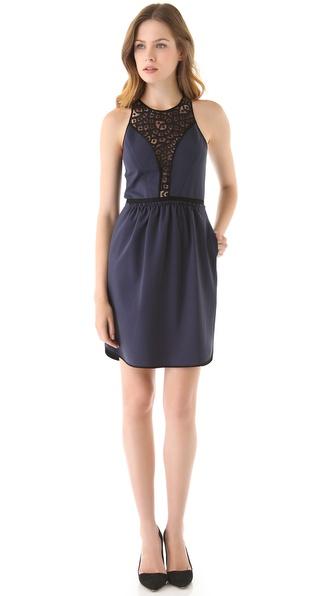 Rebecca Taylor Ponte & Lace Dress